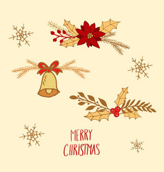 floral compositions for merry christmas and happy vector image