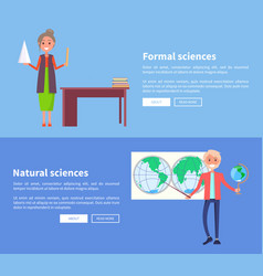 Formal and natural sciences banners with teacher vector