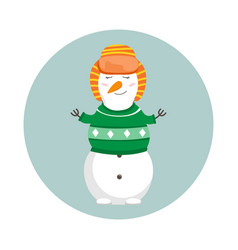 funny cartoon snowman merry christmas and happy vector image