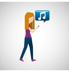 Girl listen music smartphone walking vector