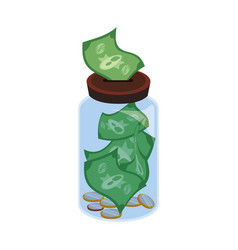 Glass bottle to save bills cash money vector