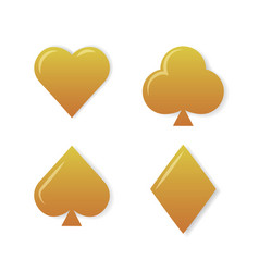 Golden playing cards symbols set on white vector