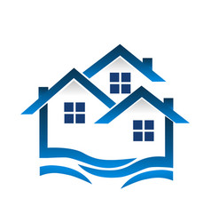 group of blue houses wavy icon vector image