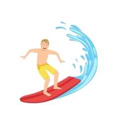 Guy In Yellow Shorts Riding A Surf vector image