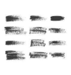 halftone dots in lines paint brush strokes vector image