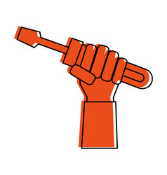 Hand holding screwdriver tool icon image vector