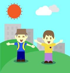 Happy children in fine day vector