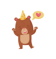 Happy little bear standing with paws up speech vector