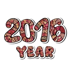 Happy New Year 2016 Decorative hand drawn vector
