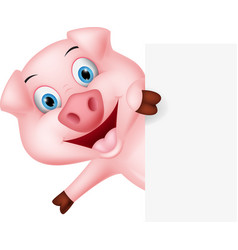 happy pig cartoon with sign vector image