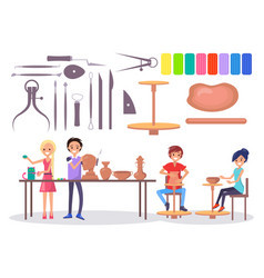 Happy young potters and various tools vector