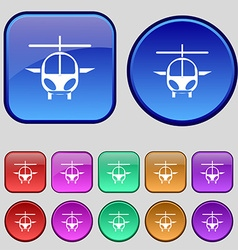 Helicopter icon sign A set of twelve vintage vector