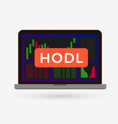 hodl button on cryptocurrency candlestick chart vector image