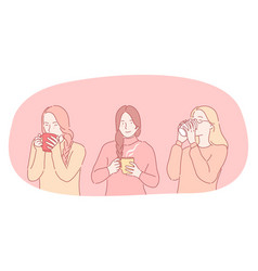 hot drinks during cold seasons concept vector image