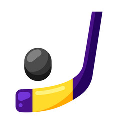 icon ice hockey stick and puck in flat style vector image