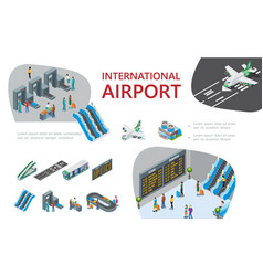 isometric airport composition vector image