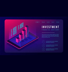 isometric investment and financial advisory vector image