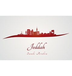 Jeddah skyline in red vector