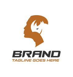 male and rhino logo vector image