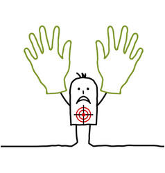 man with two hands up vector image