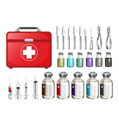 Medical equiments and firstaid box vector image