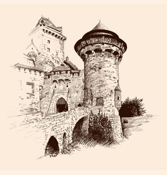 medieval castle and bridge vector image