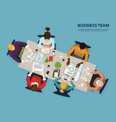 meeting of business team people meeting top view vector image