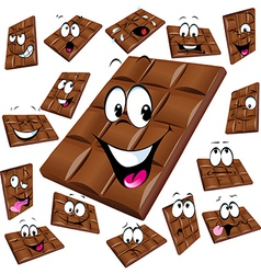 milk chocolate cartoon with many expression vector image