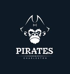 Modern professional emblem pirates monkey for vector