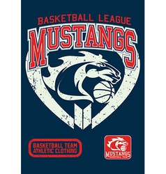 Mustangs basketball league on a navy background vector