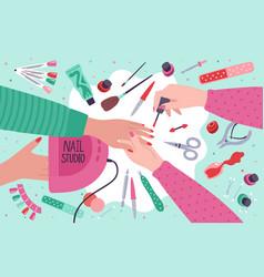 Nail salon manicure home service or salon vector