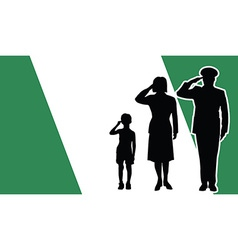 Nigeria soldier family salute vector image