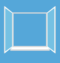 opened window isolated on blue background vector image