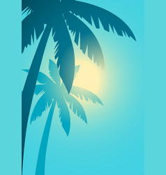 Palm trees with sunlight background vector