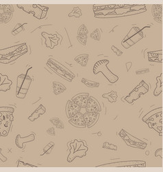 pattern seamless set fast food and drink vector image