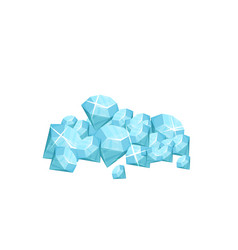 Pile of precious gemstone blue shiny diamonds vector
