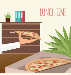 pizza in delivery box at office workplace banner vector image