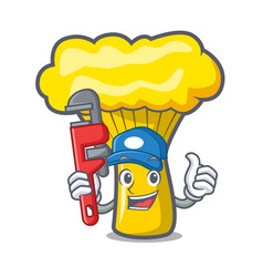 Plumber chanterelle mushroom mascot cartoon vector