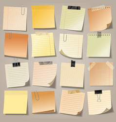 Realistic blank sticky notes with clip binder and vector