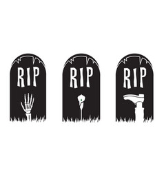 rip tombstone halloween graphic icon set vector image