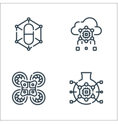 robotics line icons linear set quality line set vector image