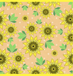 Seamleess background with yellow sunflowers vector