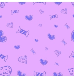 Seamless candies and hearts vector image