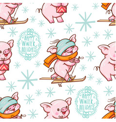 seamless pattern with cute cartoon pigs vector image