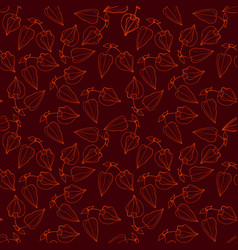 Seamless pattern with orange line physalis vector