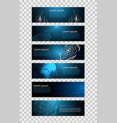 Set 6 banner abstract technology concept blue vector