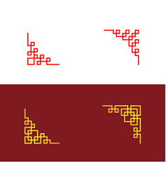 Set chinese corner in linear style art vector