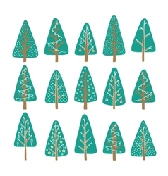set christmas tree vector image