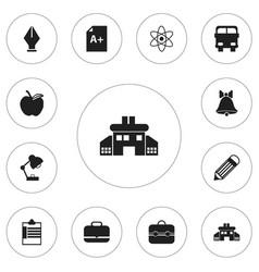 Set of 12 editable school icons includes symbols vector