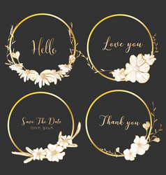 Set of dividers round frames hand drawn flowers vector